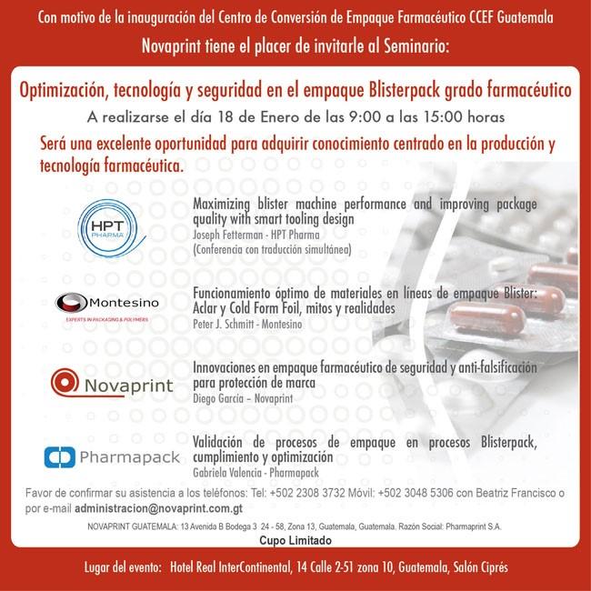 """5to Seminario """"Optimización, Tecnología y Seguridad en Empaque Blisterpack Grado Farmacéutico"""""""